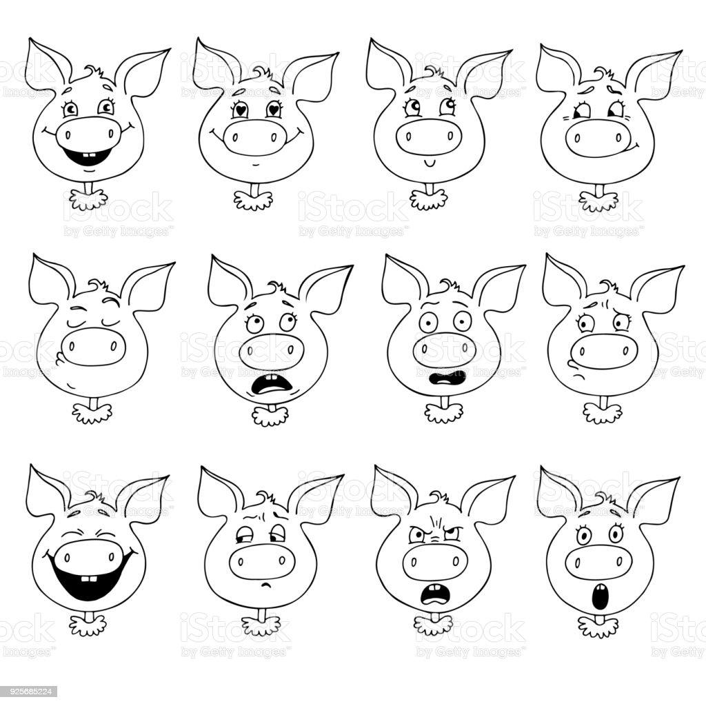 Set of pig's emotions vector art illustration