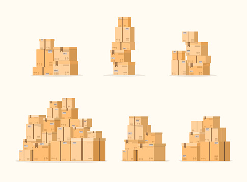 Set of pile of stacked sealed goods cardboard boxes. Carton delivery packaging.