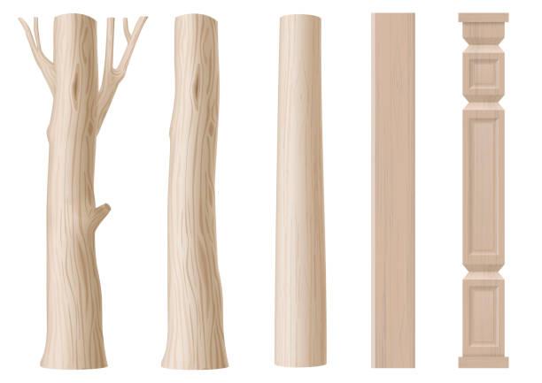reihe von säulen aus holz - buchenholz stock-grafiken, -clipart, -cartoons und -symbole