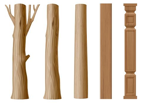 Set of pillars of wood