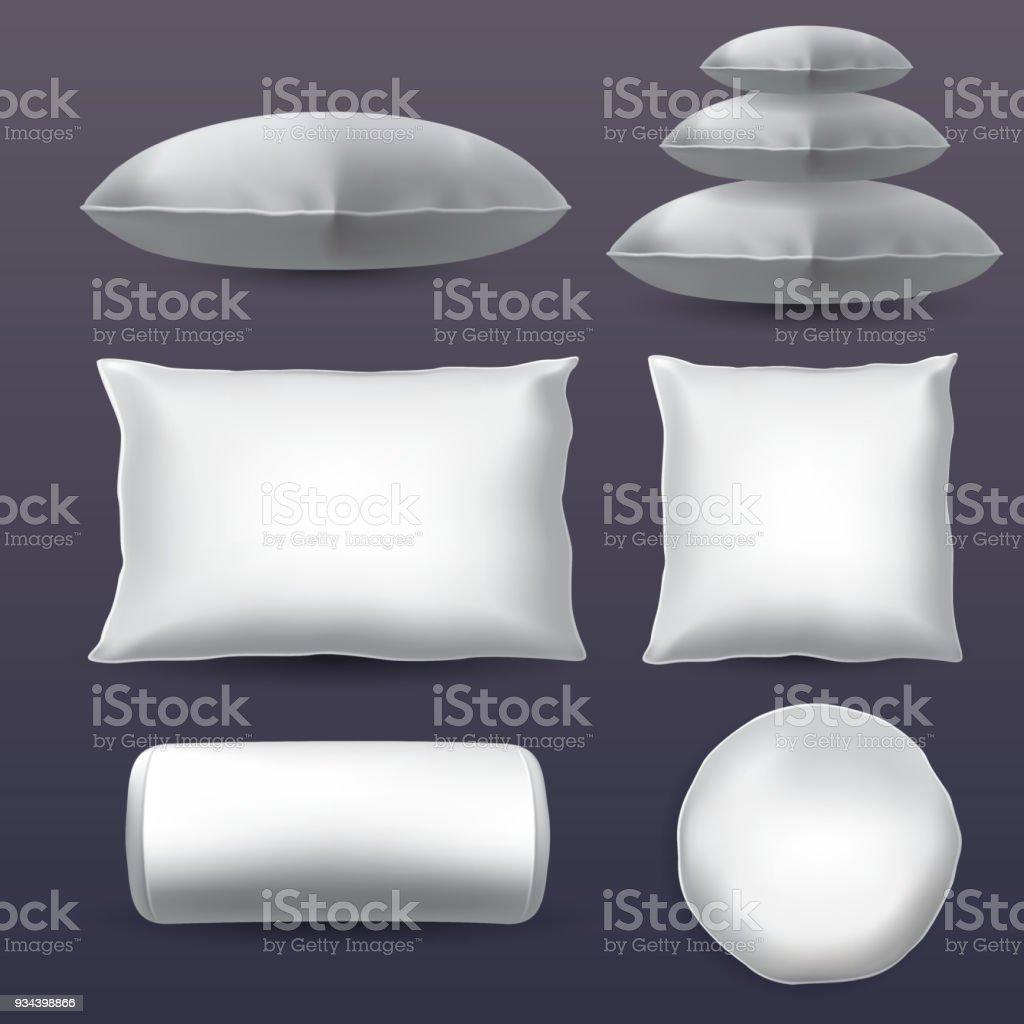 Set of pillows vector art illustration