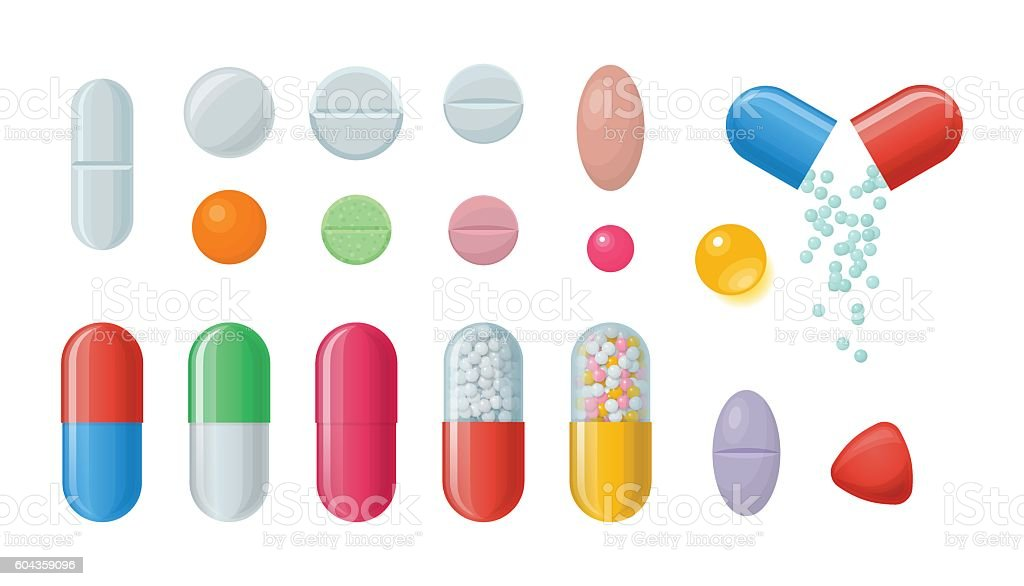 Set of pills and capsules. vector art illustration