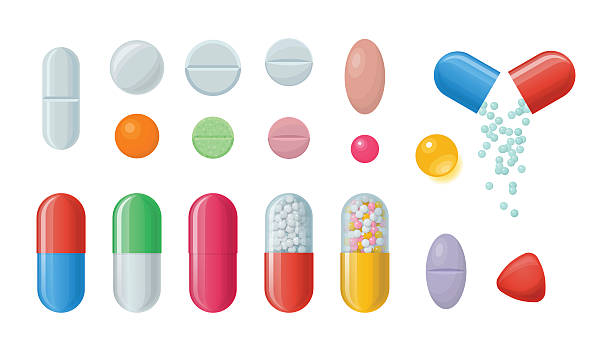 Set of pills and capsules. Set of vector pills and capsules. Icons of medications. Pharmaceutical tablets: painkillers, antibiotics, vitamins and aspirin. Pharmacy and drug symbols. Medical illustration on white background nutritional supplement stock illustrations
