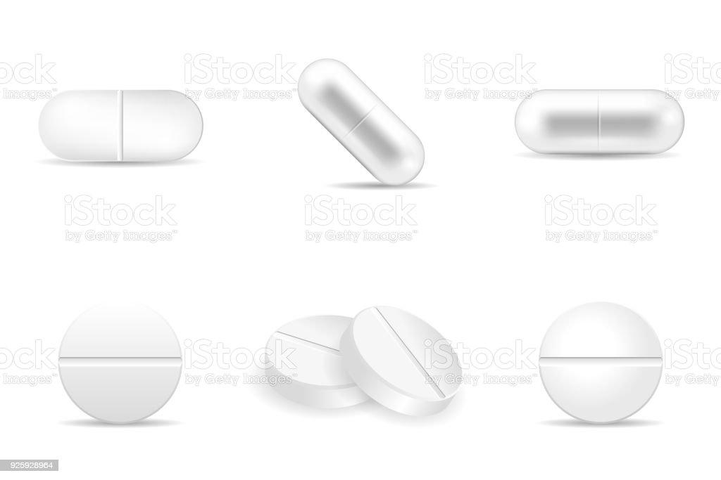 Satz Von Pillen Und Medikamente In Alle Formen Und Gestalten Stock ...