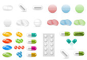Set of pills in different forms and shapes.