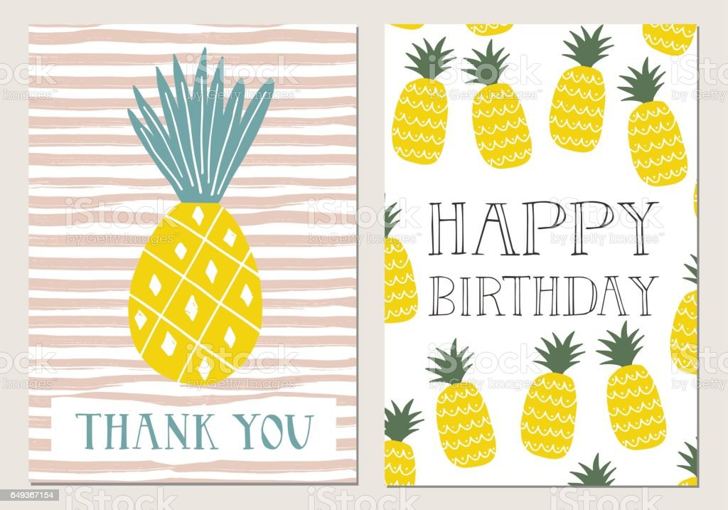 grattis på födelsedagen tack Uppsättning Ananas Kort Grattis På Födelsedagen Tack Vektor  grattis på födelsedagen tack