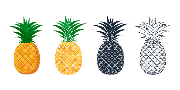 Set of pineapple icons in a flat style.