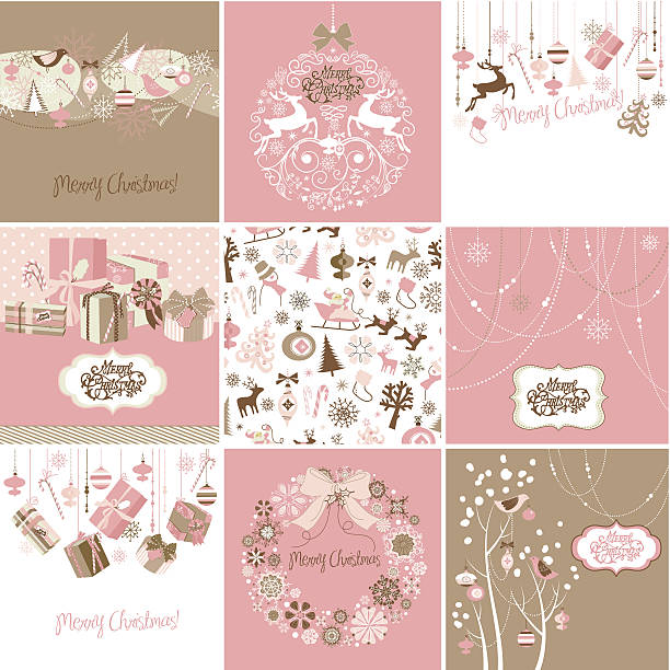 Set of pink and brown Christmas Cards vector art illustration