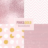 Set of pink and gold abstract backgrounds with grunge texture. Vector illustration