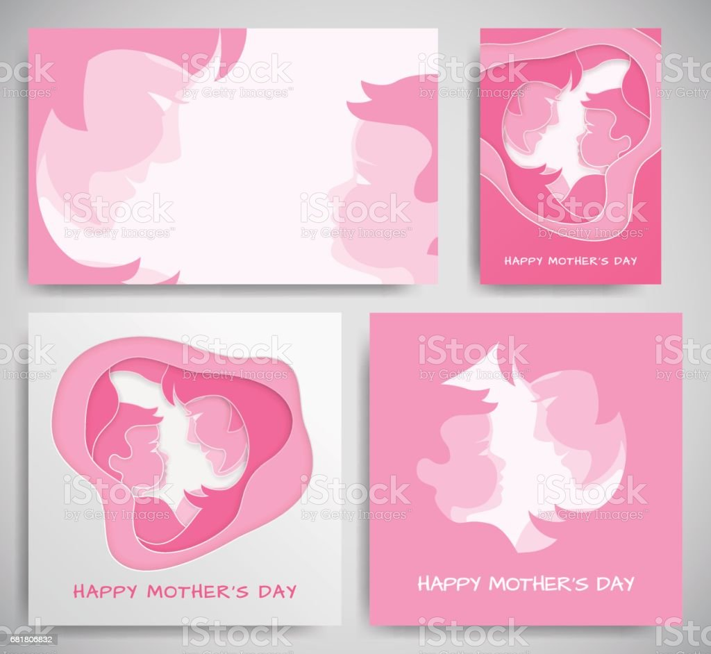Set of pink backgrounds banners or greeting cards for mothers day set of pink backgrounds banners or greeting cards for mothers day women and baby m4hsunfo