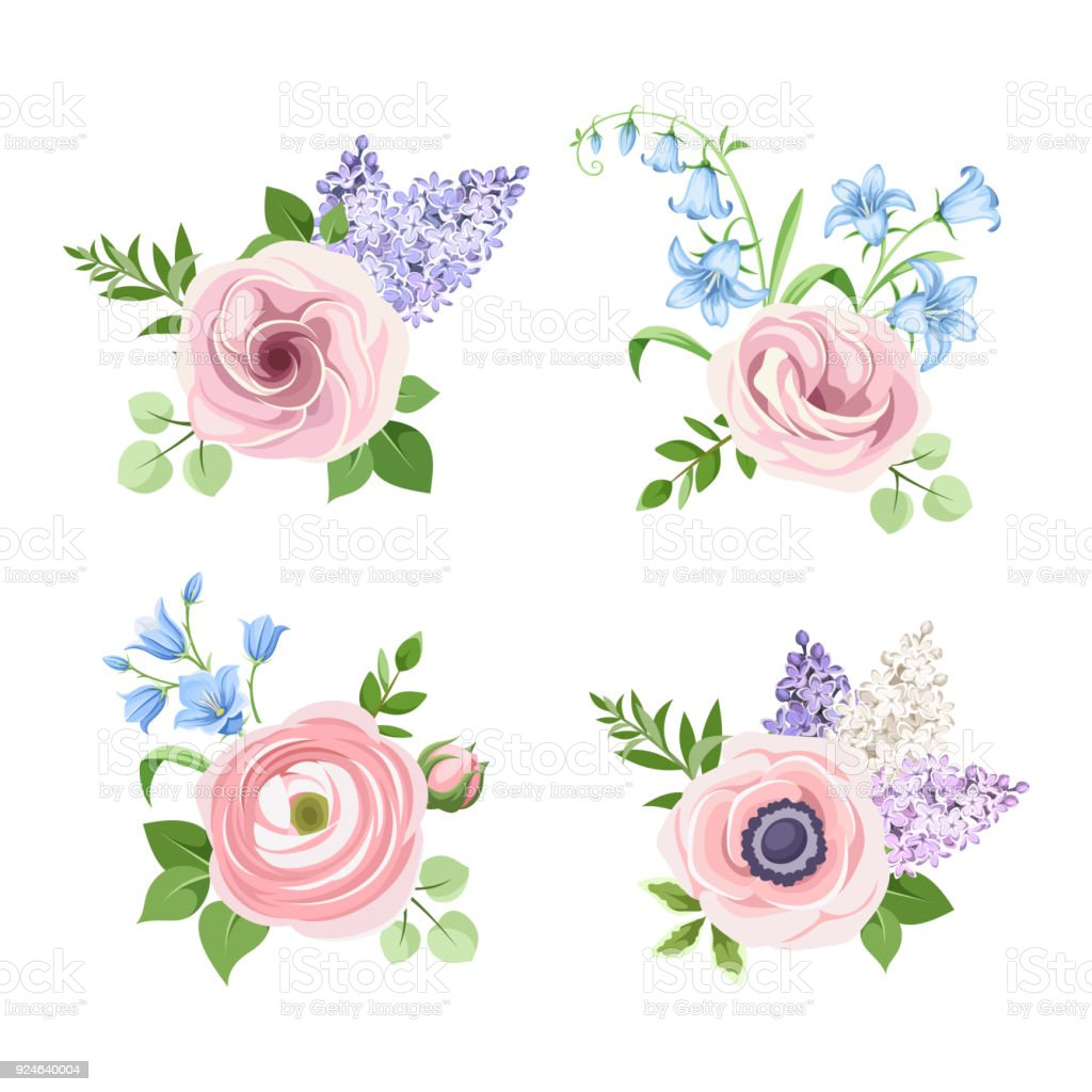 Set of pink blue and purple flowers vector illustration stock vector set of pink blue and purple flowers vector illustration royalty free set izmirmasajfo