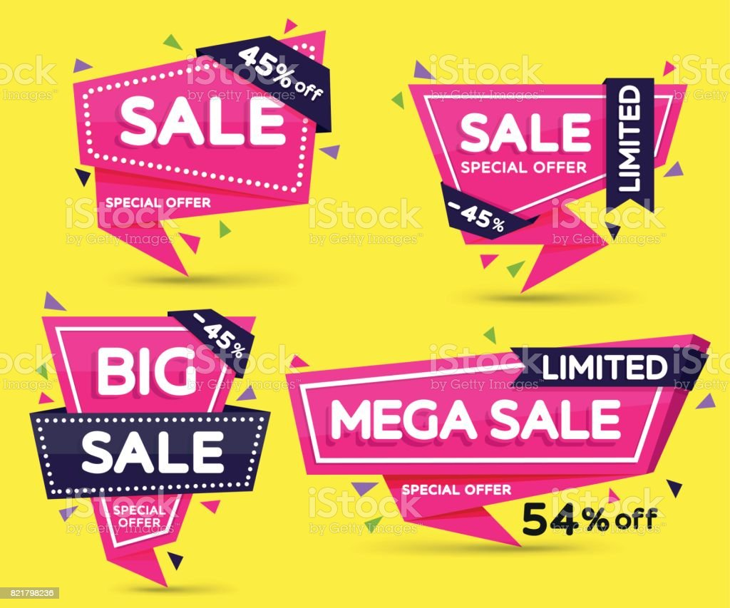 Set of pink colored stickers and banners. Geometric shapes with sharp angles. Big set of beautiful discount and promotion banners. vector art illustration