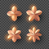 Set of pink gold flower with shadow on transparent background. New year and Christmas design elements, vector illustration.