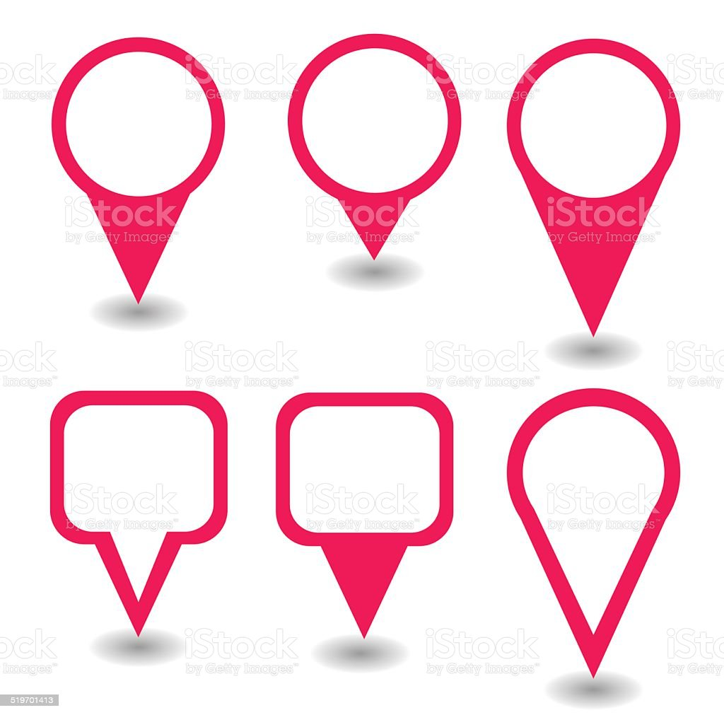Set of pink pointers and markers different shapes vector vector art illustration