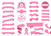 Set of Pink Ribbons, Banners, badges, Labels - Design Elements on white background