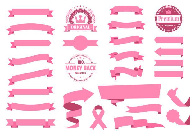 Set of Pink Ribbons, Banners, badges, Labels - Design Elements on white background vector art illustration
