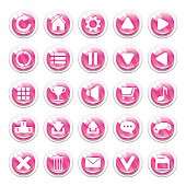 Set of pink striped glassy buttons for game interfaces