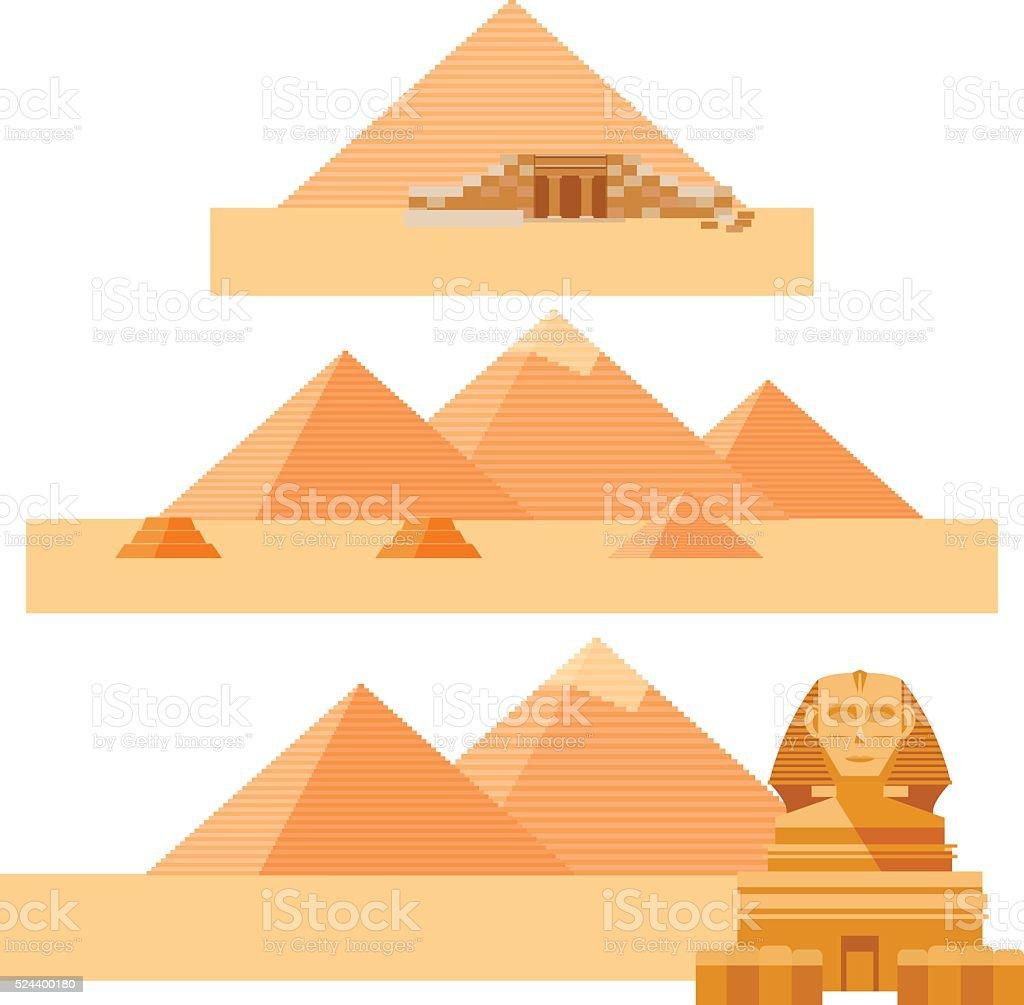 Set of piramides vector art illustration