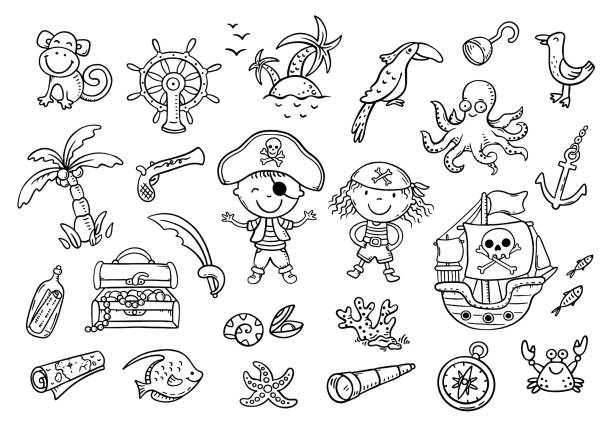 A set of pirate cliparts suitable for stickers vector art illustration