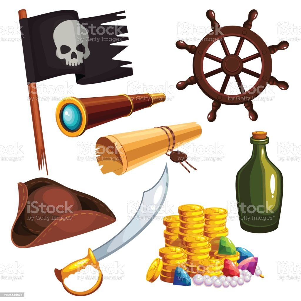 Set of pirate elements vector art illustration