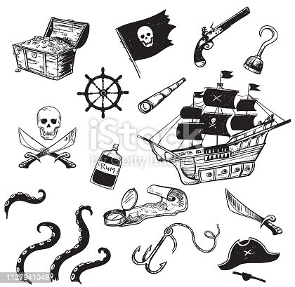 set of pirate hand drawn elements, vector illustration