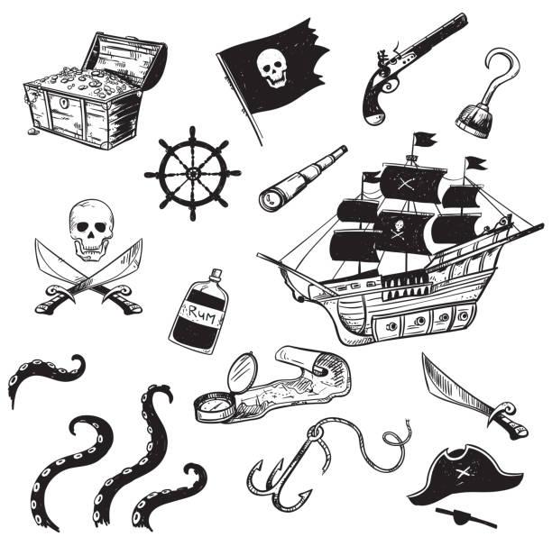 ilustrações, clipart, desenhos animados e ícones de conjunto de pirata elementos desenhados a mão, ilustração do vetor - mapas de tesouro