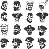 Set of pirate heads and skulls. Design elements for label, emblem, sign, badge, poster, t-shirt. Vector illustration
