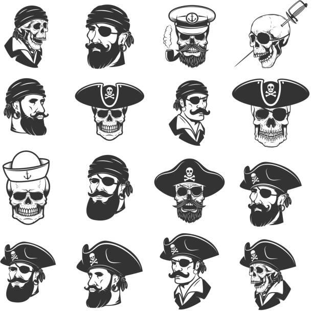 satz von piraten kopf und schädel. design-elemente für label, wahrzeichen, zeichen, abzeichen, poster, t-shirt. vektor-illustration - totenkopf tattoos stock-grafiken, -clipart, -cartoons und -symbole