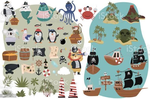 Set of pirate objects in cartoon style fun animal characters treasure vector id968391212?b=1&k=6&m=968391212&s=612x612&h=5czdkw2qzkmclla6j5ytndpzdrvx  sfvliwttzsol4=