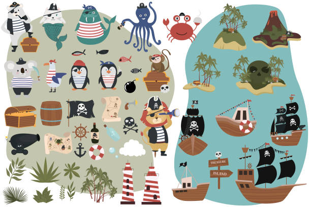 set of pirate objects in cartoon style. fun animal characters, treasure island and ships - pirates stock illustrations, clip art, cartoons, & icons