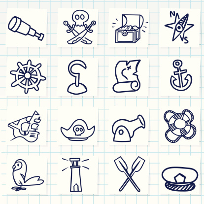 A set of pirate related icons on a white background