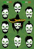 A set of pirate skulls with mustaches and beards in a Mexican sombrero. Pirate hipster skulls.