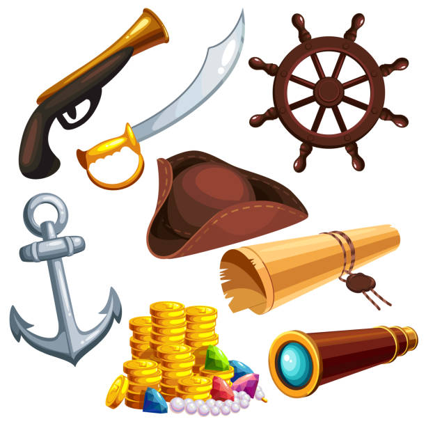a set of pirate things - pirates stock illustrations, clip art, cartoons, & icons