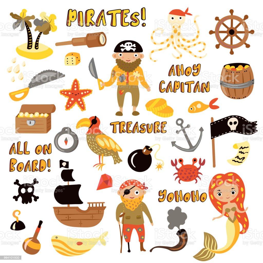 Vetores De Conjunto De Objetos De Desenho De Vetor De Piratas