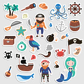 Set of Pirates vector cartoon stickers. Adventures and Pirate party sticker for Kindergarten. Children Adventure, treasure, pirates, octopus, whale, ship - Kids drawing vector cartoon stickers about Pirates and treasures isolated on white background
