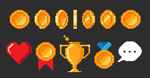 Set of pixel 8-bit video game objects isolated on black background.