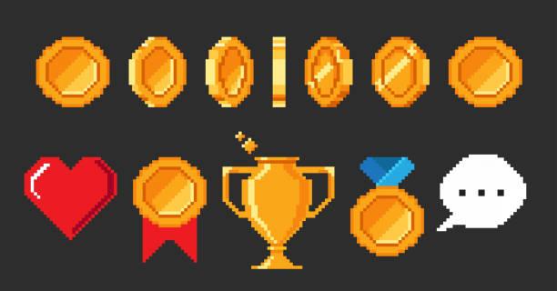 siyah arka planda yalıtılmış piksel 8 bit video oyunu nesneleri kümesi. - gaming stock illustrations