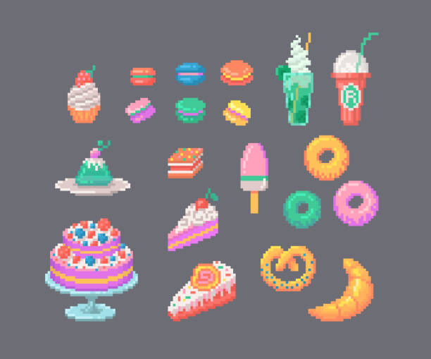 Pixel Art Donut Clip Vector Images Illustrations