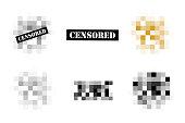 Set of Pixel censored signs. Black censor bar concept. Censorship rectangle. Vector illustration
