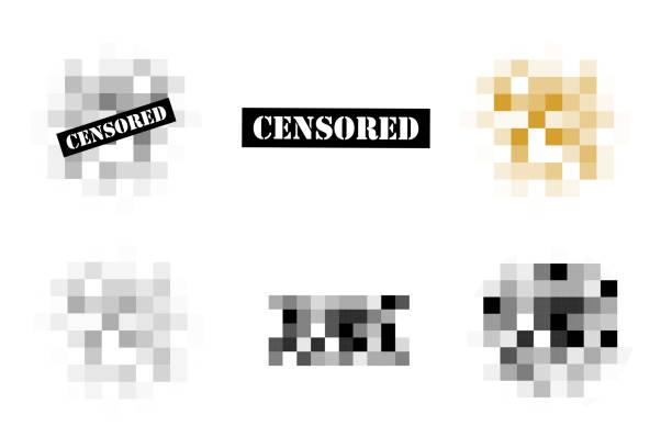 satz von pixel zensiert zeichen. - kontrolle stock-grafiken, -clipart, -cartoons und -symbole
