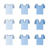 Set of pixel man t-shirts with different necklines