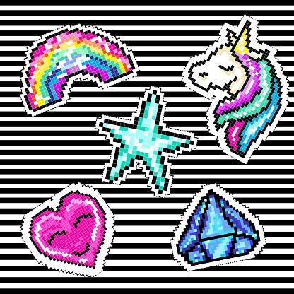 Set De Badges Patch Pixel Avec Licorne Diamant Coeur
