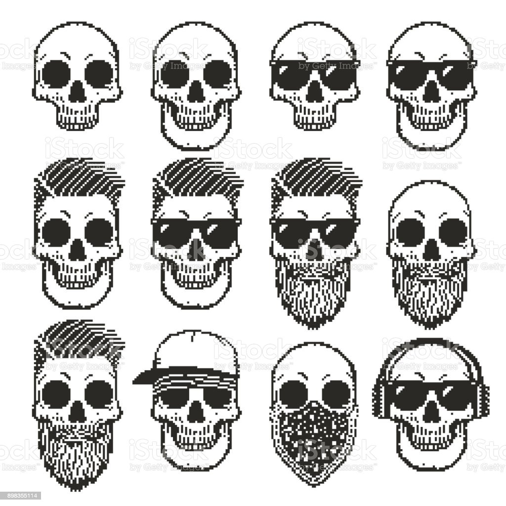 set of pixel skulls vector art illustration