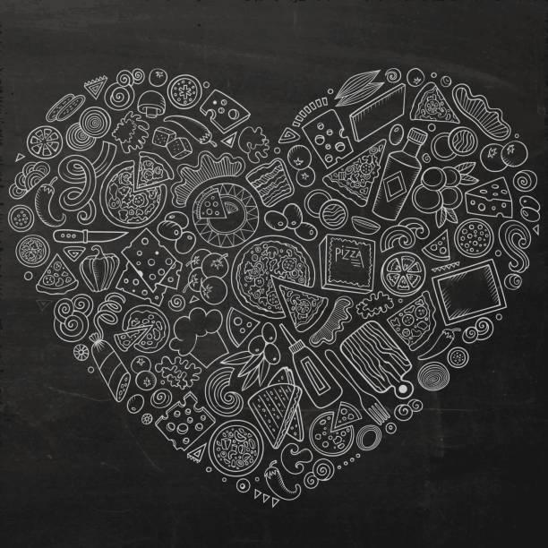 Satz von Pizza Cartoon Doodle Objekte, Symbole und Gegenstände – Vektorgrafik