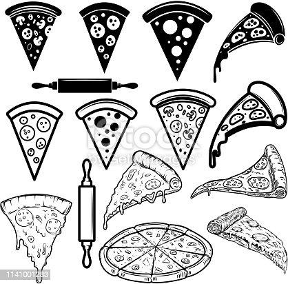 Set of pizza design elements. For poster, card, banner, sign. Vector illustration