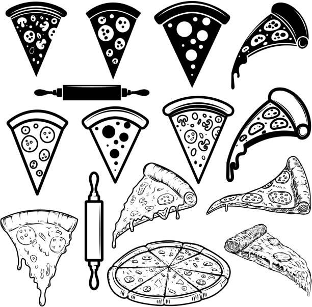 illustrazioni stock, clip art, cartoni animati e icone di tendenza di set di elementi di design della pizza. per poster, carta, striscione, cartello - pizza