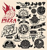 Set of pizza icons and design concepts