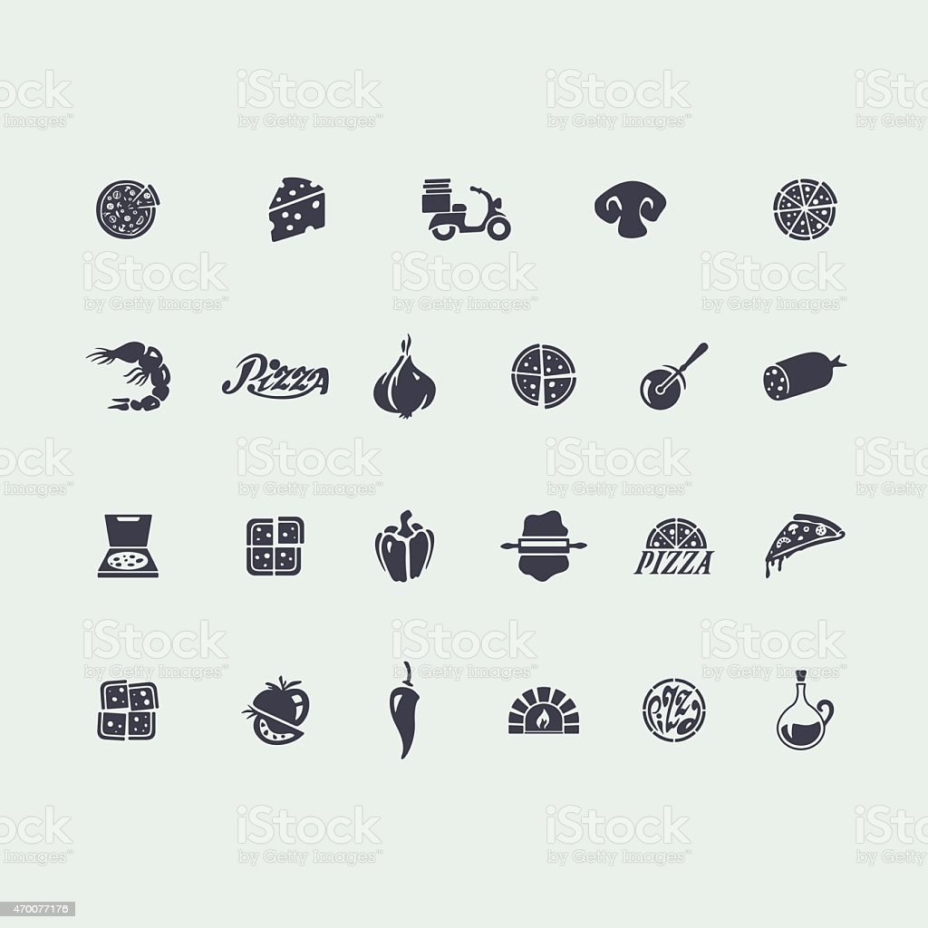 Set of pizza icons vector art illustration
