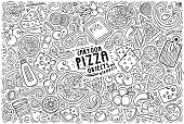 Line art vector hand drawn doodle cartoon set of Pizza theme items, objects and symbols
