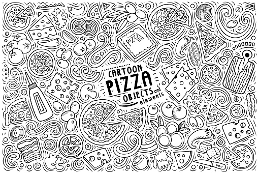 Set of Pizza items, objects and symbols
